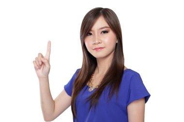 Asian girl pointing finger up