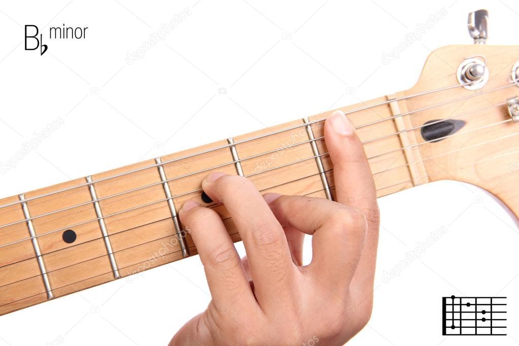 B Flat Minor Guitar Chord Tutorial Stock Photo Pepscostudio