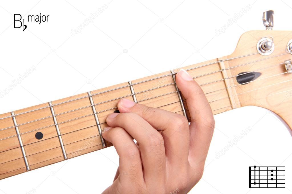 B Flat Major Guitar Chord Tutorial Stock Photo Pepscostudio
