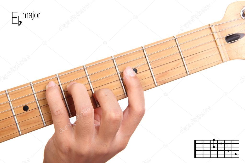 E flat major guitar chord tutorial — Stock Photo © PepscoStudio ...