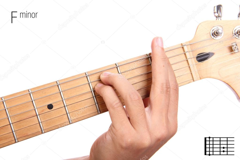 F minor guitar chord tutorial — Stock Photo © PepscoStudio #93210884