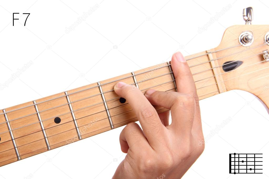 F dominant seventh guitar chord tutorial — Stock Photo ...