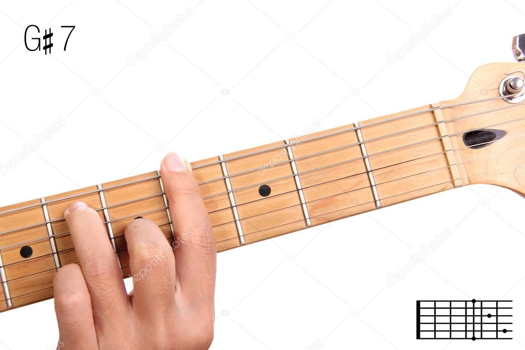 G Sharp Dominant Seventh Guitar Chord Tutorial Stock Photo
