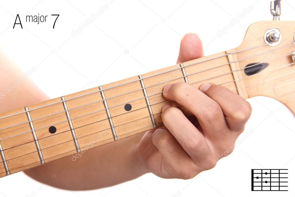 A Major Seventh Guitar Chord Tutorial Stock Photo Pepscostudio