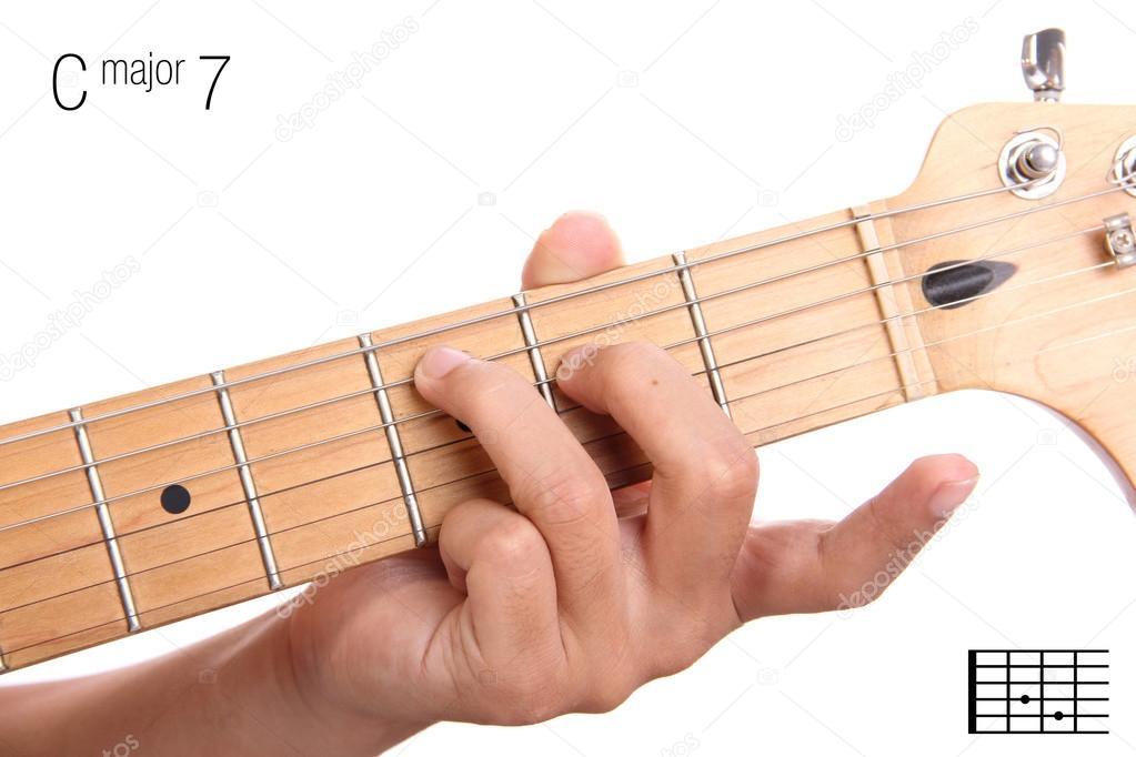C Major Seventh Guitar Chord Tutorial Stock Photo Pepscostudio