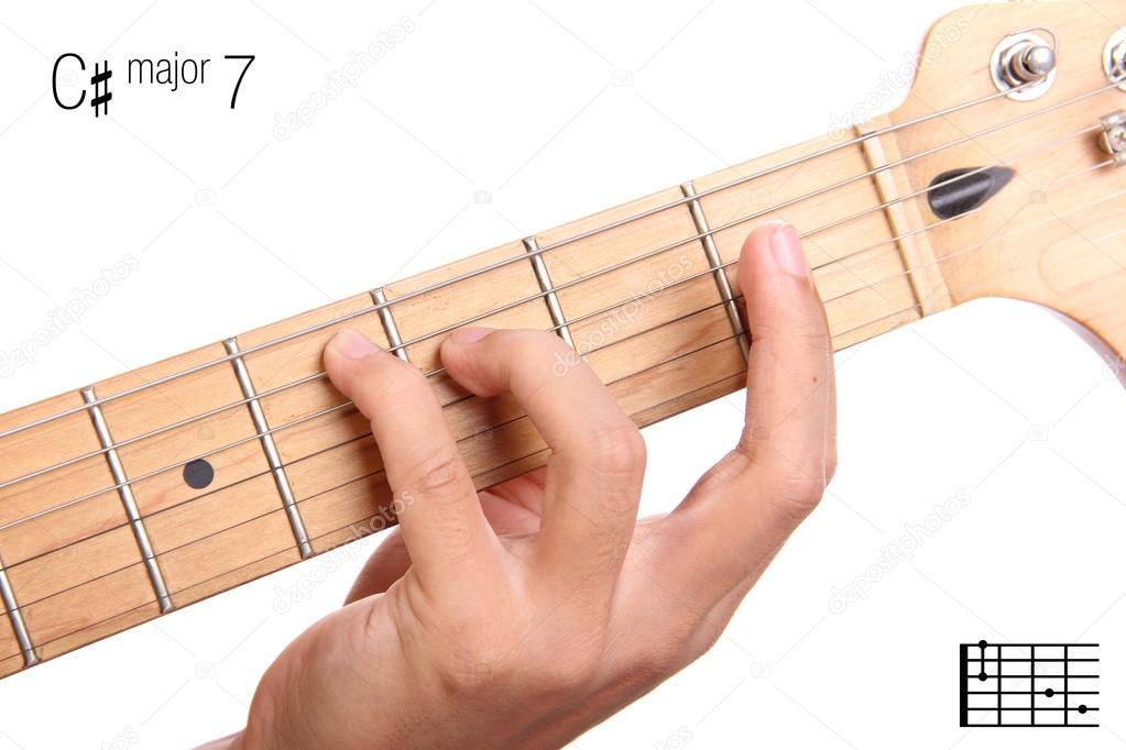 C Sharp Major Seventh Guitar Chord Tutorial Stock Photo