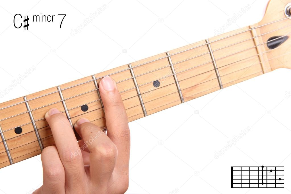 C Sharp Minor Seventh Guitar Chord Tutorial Stock Photo