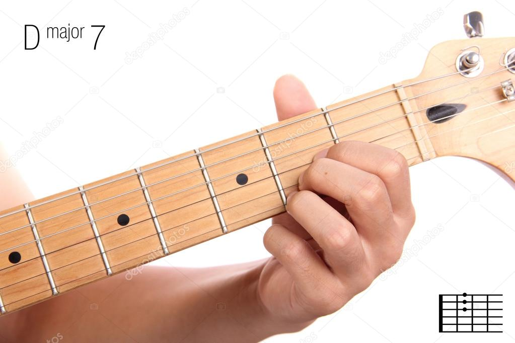 D major seventh guitar chord tutorial — Stock Photo © PepscoStudio ...