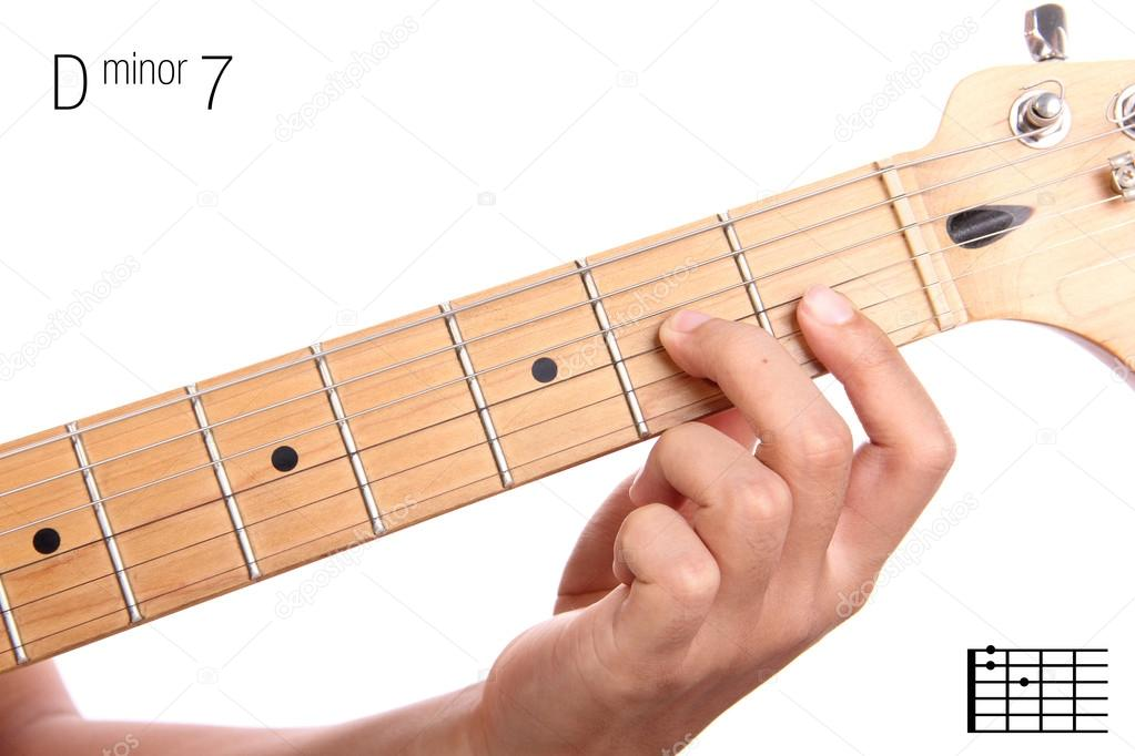 D minor seventh guitar chord tutorial — Stock Photo © PepscoStudio ...