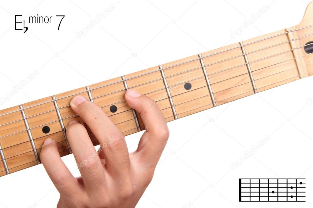 E flat minor seventh guitar chord tutorial — Stock Photo ...
