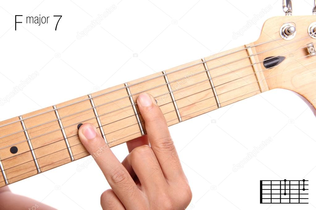 F Major Seventh Guitar Chord Tutorial Stock Photo Pepscostudio