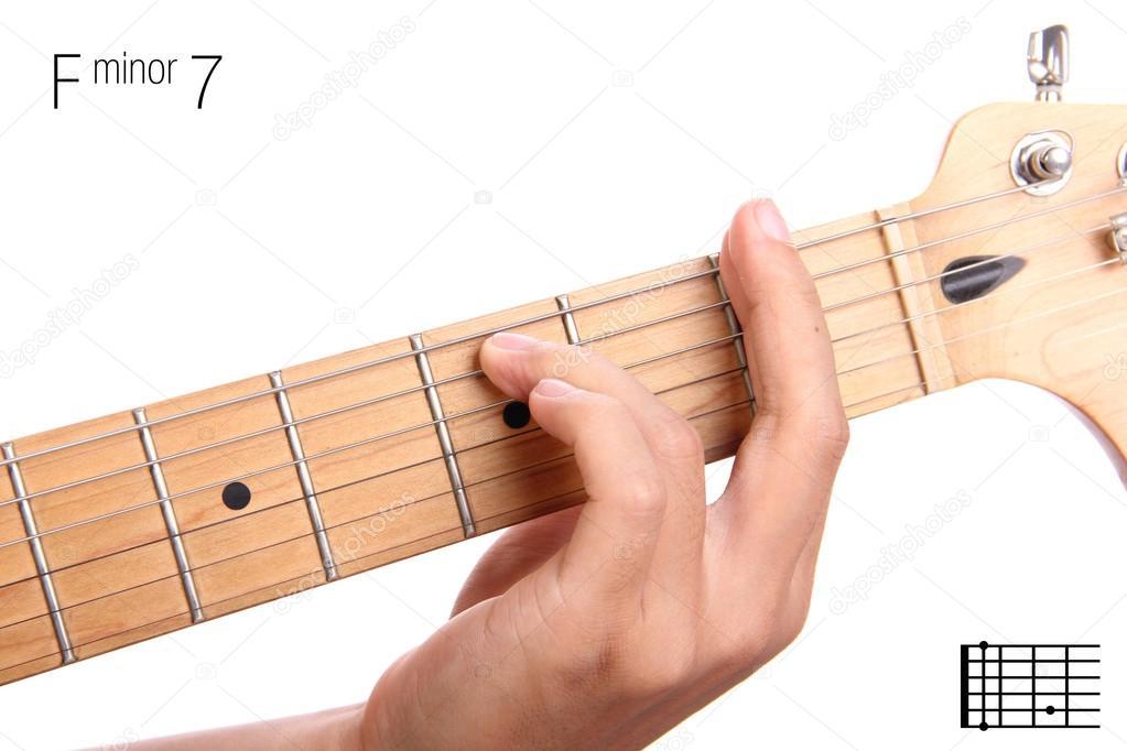 F minor seventh guitar chord tutorial — Stock Photo © PepscoStudio ...