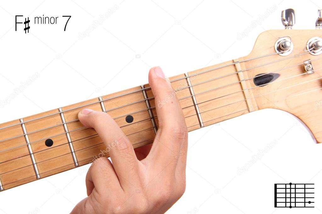 F sharp minor seventh guitar chord tutorial — Stock Photo ...