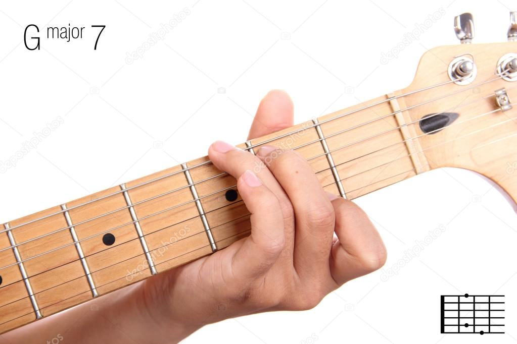 G Major Seventh Guitar Chord Tutorial Stock Photo Pepscostudio
