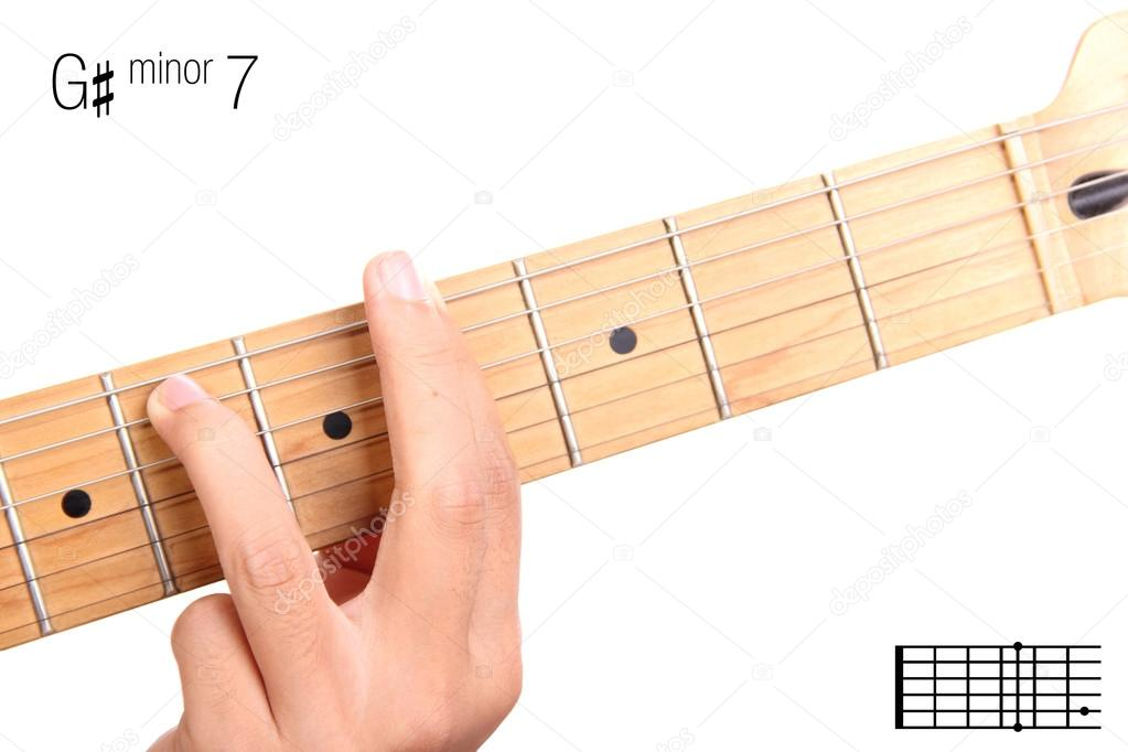 G Sharp Minor Seventh Guitar Chord Tutorial Stock Photo