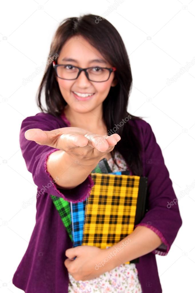 School Girl Showing Open Hand Isolated Stock Photo