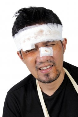 Face of beaten man feels hurt