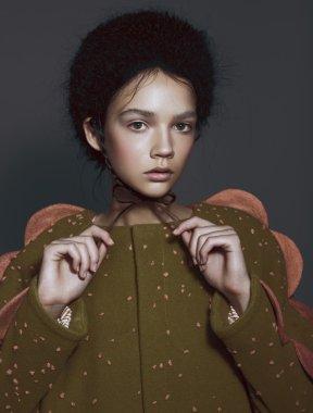 Portrait fashion brunette woman