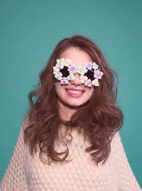 Fashion woman mask sunglasses design decorative portrait
