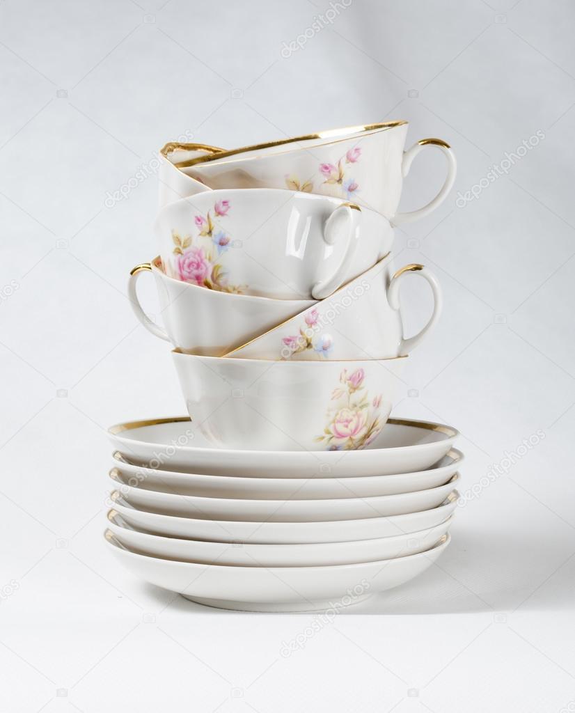 Antika Porselen çay Bardak Beyaz Zemin üzerine çiçek Boyama Stok