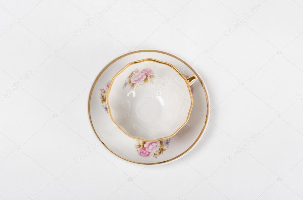 tasses th en porcelaine antique avec peinture florale sur backgrond blanc photographie. Black Bedroom Furniture Sets. Home Design Ideas