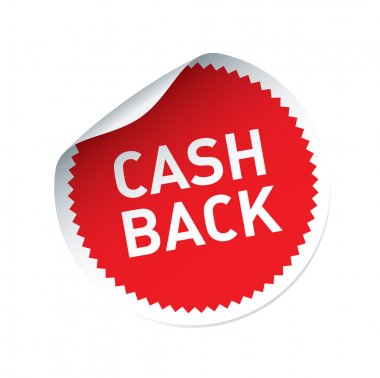 Red vector sticker and text CASH BACK