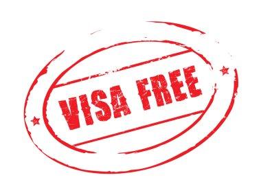 Red vector grunge stamp VISA FREE