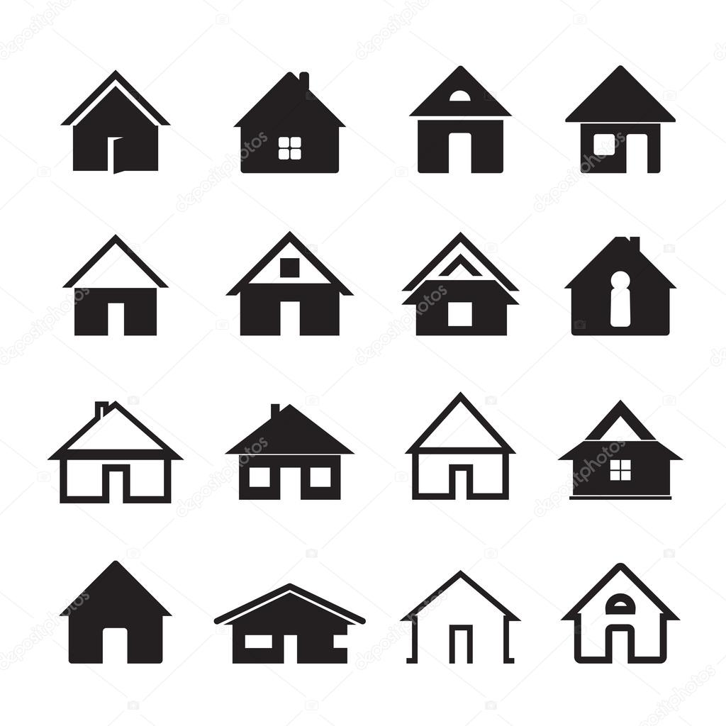 Black vector houses graphic elements stock vector for Casa minimalista logo