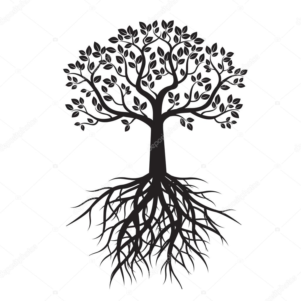 black tree and roots vector illustration stock vector rh depositphotos com tree with roots silhouette vector free transparent tree with roots vector