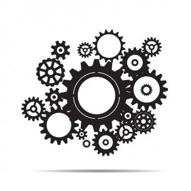 Black illustration of sprockets. Vector Illustration