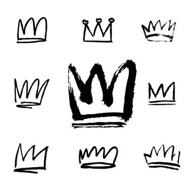Set of white hand drawn crowns
