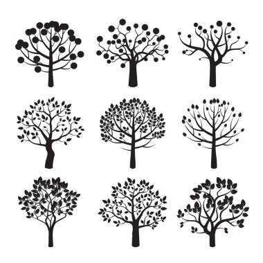 Set of black vector tree icon
