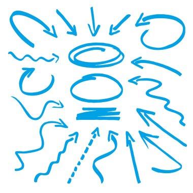 Group of vector blue arrows