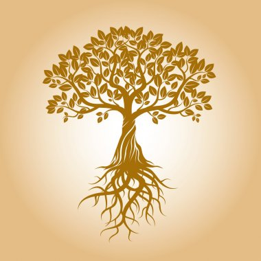 Golden Tree and Roots. Vector Illustration.