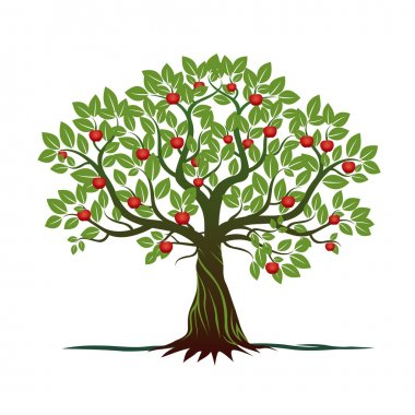 Old Tree With Green Leafs, Roots And Red Apples. Vector Illustration.