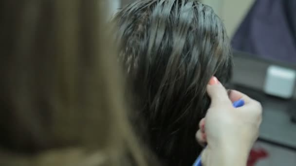 Close-up hairdresser combing and blow dry for client hair in hairdressing salon