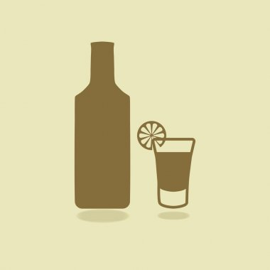 Bottle of tequila with shot glass and lemon slice. Isolated icons. Vector illustration. EPS 10 stock vector