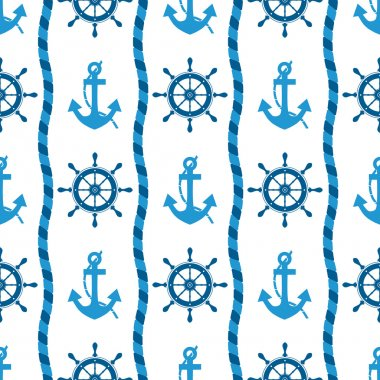 seamless pattern of sea anchors and helm