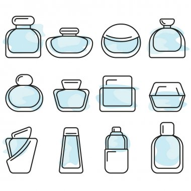 Different bottles with perfume vector lineart icon set icon