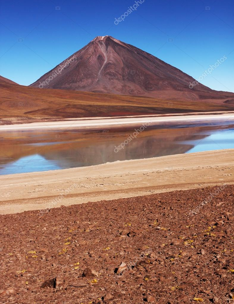 Bolivian mountains and lagoon