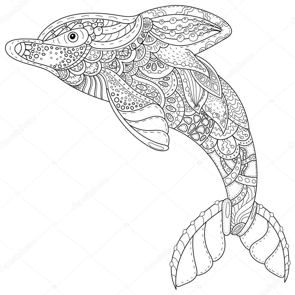 zentangle gestileerde dolfijn volwassen anti benadrukken