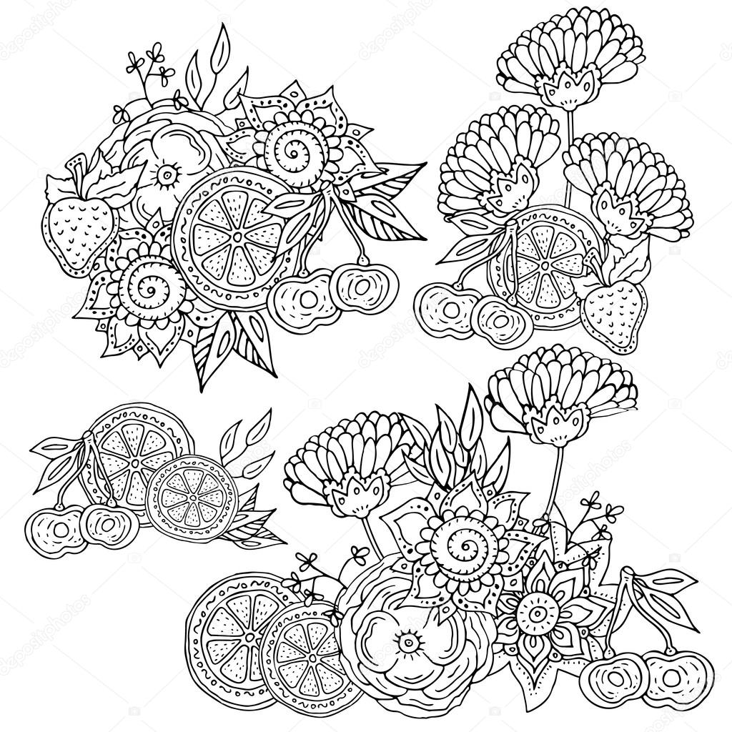 Patrón de libro para colorear con flores abstractas — Vector de ...