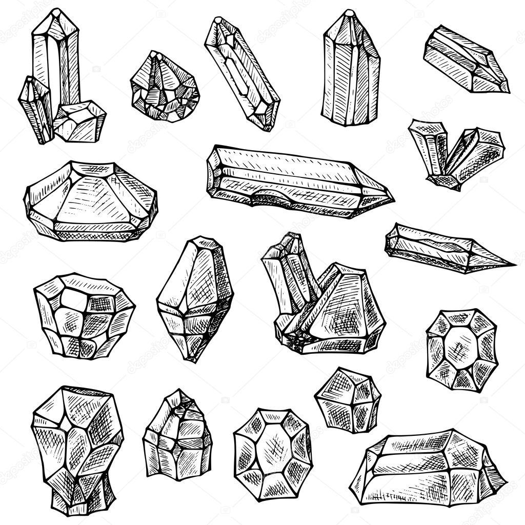 8496b2ec8d6 boho crystals set. Hand drawn sketch — Stock Vector © Lexver  114908116