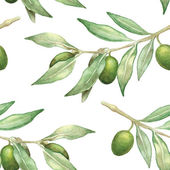 Photo watercolor olive branch seamless pattern