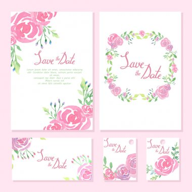 Wedding design collection. Invitation cards. watercolor design.