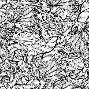 Vector colorless seamless pattern. Ethnic retro design