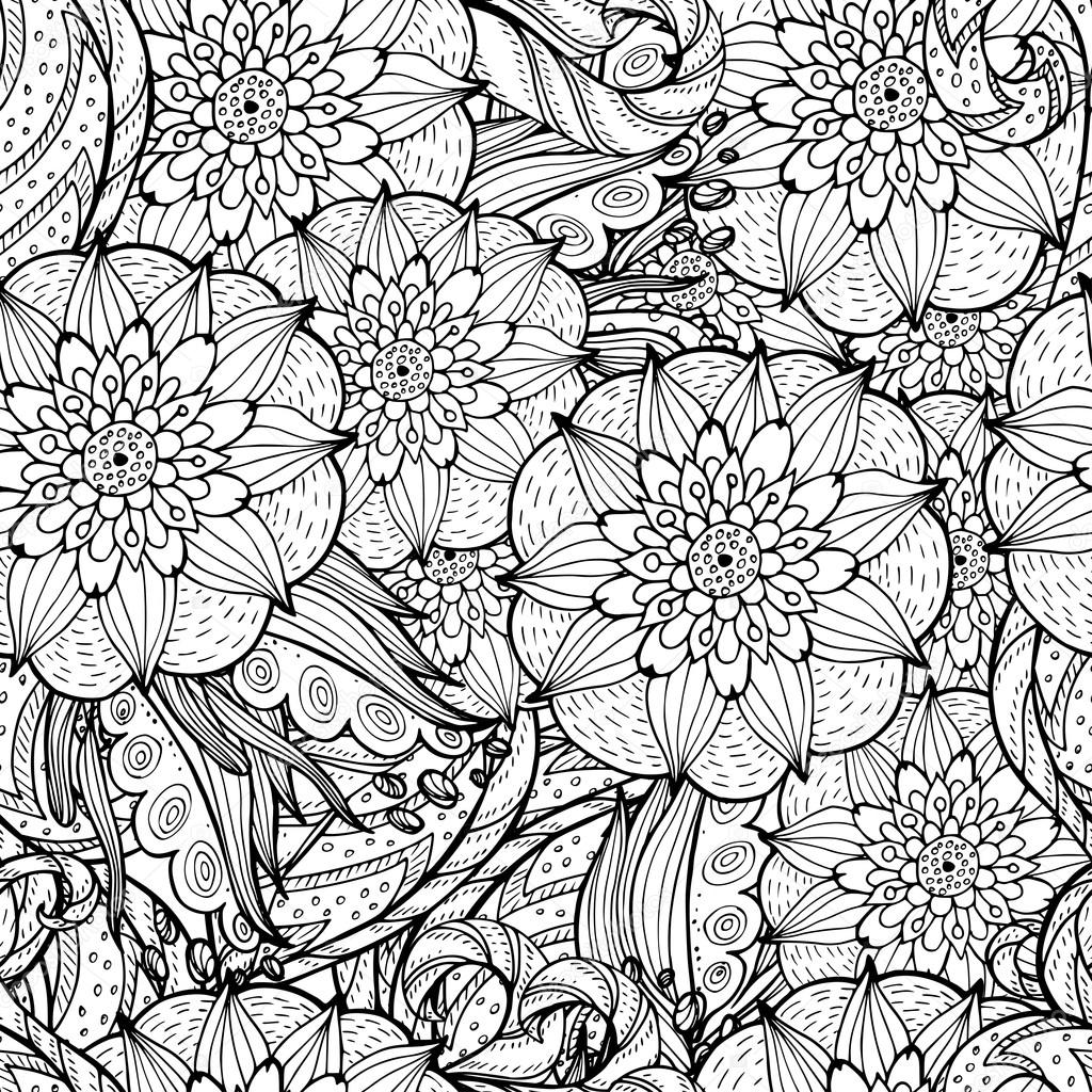 Vector colorless seamless pattern. Ethnic retro design