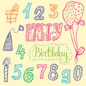Photo doodle set of birthday decorations for gift card
