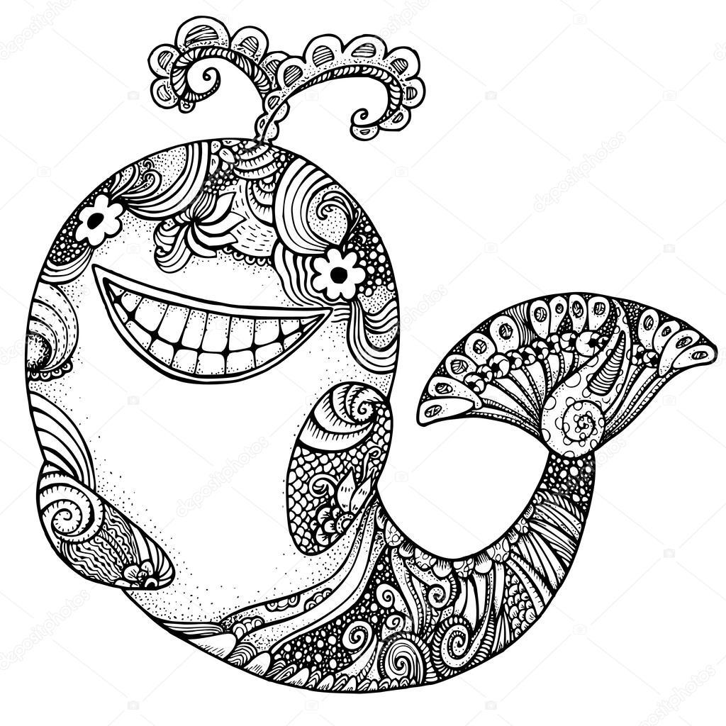 Coloriage Queue De Baleine.Baleine Stylisee Zentangle Adulte Anti Stress Coloriage Image