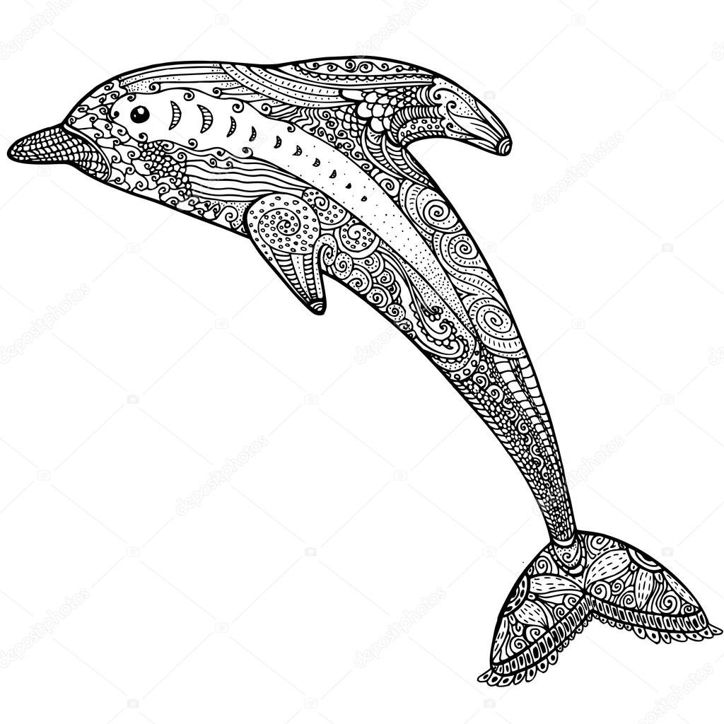 Zentangle stylized dolphin. adult anti stress Coloring Page — Stock ...